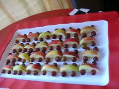Such a cute idea! Fruit 'cars' ! Disney Cars Party - Part 1: The Food, & Free Printables via Imperfect & Fabulous