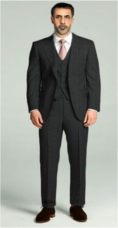 Classic Three-piece Notch lapel  This 3-piece makes an elegant and versatile seasonal option. Cut from wool, this 2-button suit features a natural shoulder and pockets with flaps.  $515.00