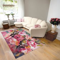 Nestle Your Feet Into The Soft, Comfortable Fibres Of A Floral Rug