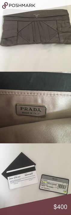 """Authentic PRADA Gunmetal Gray Calf Leather Clutch Gorgeous, Pristine Clutch - Comes With Cards & Dust Bag 12"""" In Length/7"""" in Height- Worn Once Prada Bags Clutches & Wristlets"""