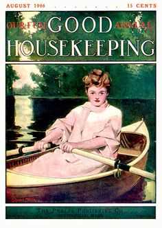 Good Housekeeping 1906-08 Woman in small boat rowing on a lake.   Artist: Cushman Parker Source: ebay seller powerangers Restoration by: magscanner  Date: 07/31/2010 Owner: Magazine Art Gallery Administrator Full size: 650x915