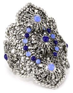 "Clara Kasavina ""Gypsy"" Filigree Cuff Bracelet Clara Kasavina. $109.99. Antiqued silver plated cuff. Filigree cuff set with lapis, blue opal cabochons and silver shade Swarovski crystals. Made in United States. Hand crafted in New York city"