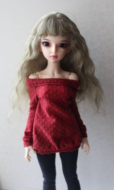 Colored olive Angora Wig for MNF and similar size MSD dolls head