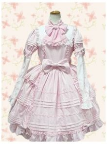Sweet Pink Cotton Bow Lace Long Sleeve Lolita Dress
