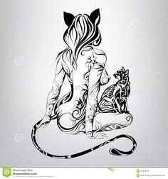 vector-silhouette-girl-cat-black-cat-ornament-41069046.jpg 1,300×1,390 pixels