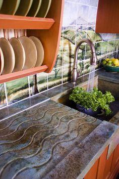 Dish Storage/Drainer Over Drain Board in Cement Countertop