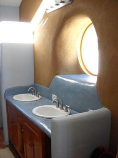 Cob bathroom countertop and backsplash