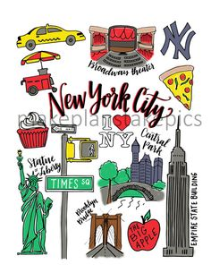 New York City Drawings and Calligraphy print Nyc Drawing, New York Drawing, Christmas Decorations Drawings, Passport Template, New York Theme, City Icon, Life App, Calligraphy Print, Nyc Art