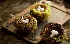 Bird Nest Ornament. Create a natural, rustic Christmas tree with our Bird Nest Ornament. Bright moss cushions natural vine nests and feature three little eggs. Place on the tree, wreath or garland. May also be used as a package accent. Natural Christmas Ornament.