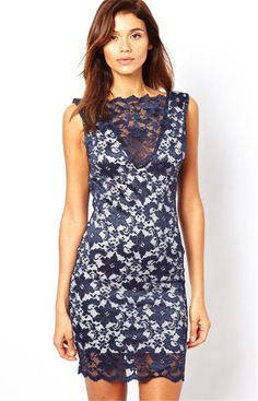 Women Sexy Slim Draped Sleeveless Backless Hollow Floral Lace Mini Party Dress