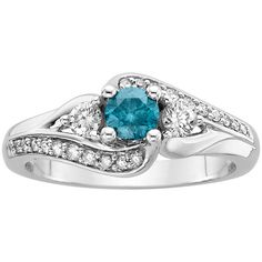 3/4 ct. tw. Enhanced Blue and White Diamond 3-Stone Engagement Ring in... ($686) ❤ liked on Polyvore featuring jewelry, rings, blue, blue diamond, white gold rings, 3 stone ring, 3 stone engagement rings, three stone engagement ring and round diamond ring