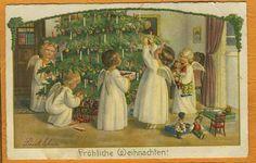 Pauli (Pauline) Ebner (1873-1949) - Angel Children w Xmas Tree & Black Doll