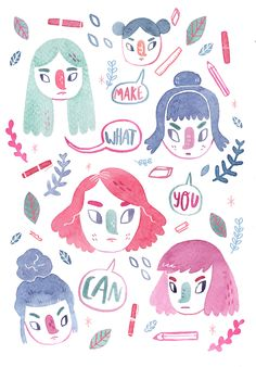 Illustrated Ladies — lizemeddings:   YOU CAN DO IT!