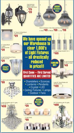 We've opened our warehouse and lowered our prices A LOT! Come and check out our warehouse sale! Open Up, Light Colors, Clear Glass, Warehouse, Light Fixtures, It Cast, The Incredibles, Ads, Lights