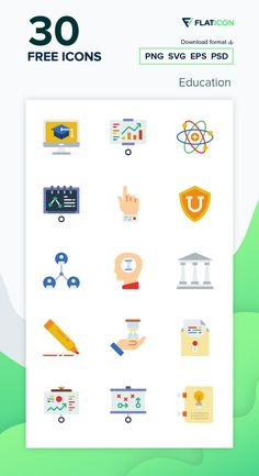 30 Education icons for personal and commercial use. Prettycons Flat icons. Download now free icon pack from Flaticon, the largest database of free vector icons. #Flaticon #icons #teacher #education #school #college