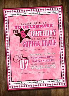 Customizable/ Printable Pink Camo Invitation by DearLylah on Etsy, $12.00