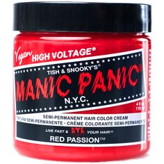 Manic Panic Red Passion High Voltage Hair Dye ($11) ❤ liked on Polyvore featuring beauty products, haircare, hair color, hair, fillers, beauty, fillers - red and hair dye