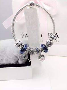 50% OFF!!! $239 Pandora Charm Bracelet Blue White. Hot Sale!!! SKU: CB01996 - PANDORA Bracelet Ideas