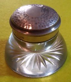 ANTIQUE INK WELL /UK ENGLISH STERLING SILVER /CUT GLASS /RARE /+- 6/7 cm /220 gr