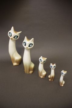 Hornsea Pottery 1960s Stylised Cats Modelled by Marion Campbell
