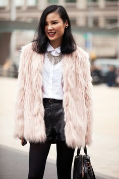 Pink Trendy Faux Fur Coat