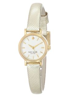 """kate spade new york Women's 1YRU0455 """"Tiny Metro"""" Gold Watch with Leather Band"""