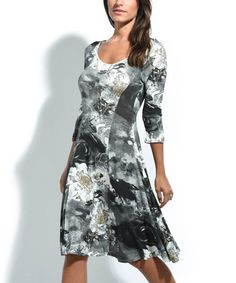 Love this Black Abstract Floral A-Line Dress on #zulily! #zulilyfinds