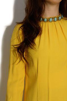 Happy yellow dress with jeweled neckline