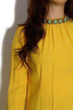 Happy yellow dress with jeweled neckline