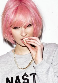 A great bob haircut with a great pink color