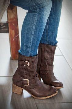 Image of Vegan Leather Midi Booties - Chocolate Brown