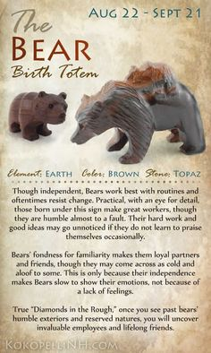 Are you the Practical Bear? Virgo Those born between Aug 22 and Sept 21 are represented by the Bear Birth Totem. Native American Totem, Native American Wisdom, American Indians, Native American Zodiac Signs, American History, Native American Spirituality, American Women, Signo Virgo, Bear Totem