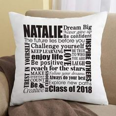 Need a unique gift? Send Dream Big Graduation Pillow and other personalized gifts at Personal Creations. High School Graduation Gifts, Grad Gifts, Graduation Ideas, Senior Gifts, Graduation Parties, Graduation Decorations, Graduation Sayings, Unique Graduation Gifts, Graduation Centerpiece