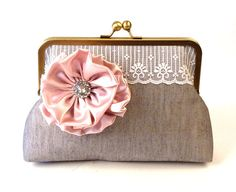 Sweet lace and flower rhinestone clutch.