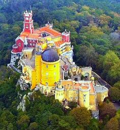 Pena Palace in Sintra Portugal Sintra Portugal, Visit Portugal, Spain And Portugal, Portugal Destinations, Portugal Vacation, Portugal Travel, Beautiful Places In The World, Beautiful Places To Visit, Places Around The World