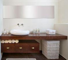 floating countertop Beautiful Bathroom Towel Display And Arrangement