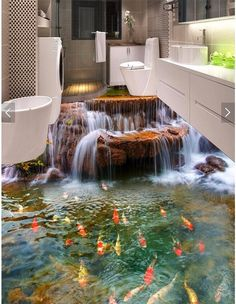 Wish   Custom Floor 3D Wallpaper river water carp Bathroom Floor Mural-3d PVC Wallpaper Self-adhesive wall Floor painting wall stickers for home decoration