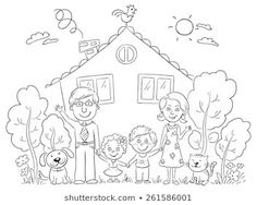 Picture - family clipart black and white Shark Coloring Pages, Family Coloring Pages, House Colouring Pages, Dog Coloring Page, Coloring Books, Black And White Cartoon, Clipart Black And White, Clip Art, Preschool Family Theme