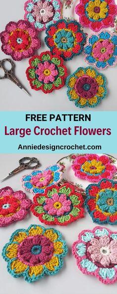 Crochet Applique Patterns Free, Crochet Flower Patterns, Crochet Designs, Free Crochet, Free Pattern, Crochet Appliques, Crochet Flower Squares, Pattern Art, Scrap Yarn Crochet