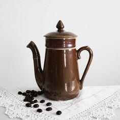 e94e26865727 Vintage French porcelain brown teapot retro coffee pot jug mid-century  Small ceramic tea pot