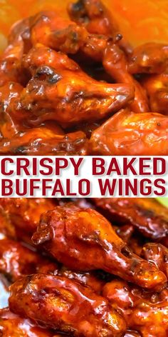 Baked Buffalo Wings Recipe [Video] - Sweet and Savory Meals - - These Baked Buffalo Wings are super crispy and coated in a delicious homemade spicy sauce. They are the perfect snack or party food! Meat Appetizers, Appetizer Recipes, Dinner Recipes, Baked Buffalo Wings, Sweet Buffalo Wings Recipe, Buffalo Chicken Wing, Buffalo Wild Wings, Fettucine Alfredo, Cooking Recipes