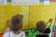 Question of the Day by Teach Preschool - hv list of q's ready. stick on board day before so its the first thing they do when they walk in.  could be any q or a q related to the theme or book of the day.  e.g are you wearing buttons
