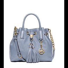 """MAKE AN OFFER Brand New Michael Kors Handbag Brand New Camden Medium Leather Drawstring Satchel.  Pale Blue Color  -Soft Venus Leather  -Gold-Tone Hardware  -Top Handle: 4""""  -Adjustable Strap: 18""""-20""""  -Interior: One Zip Pocket, Two Open Pockets, One Key Fob  -Magnetic Closure  -Interior Lining: 100% Polyester  -Imported Michael Kors Bags"""
