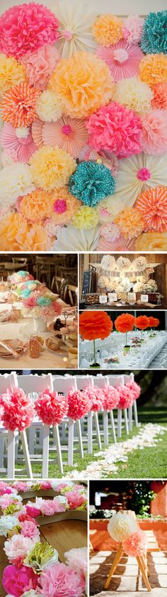 Decoración original de bodas con pompones de papel #weddingdecor #weddingideas #weddingpompoms #weddingparty #pompoms