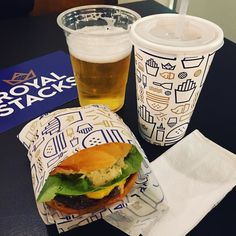 """#invite Burgers beats and beers at the launch of @royalstacksau! This was the """"single stack"""" - Australian beef tomato butter lettuce American cheddar special burger sauce pickles.   #burgers #royalstacks #beer # # # # by sarahcooksblog"""