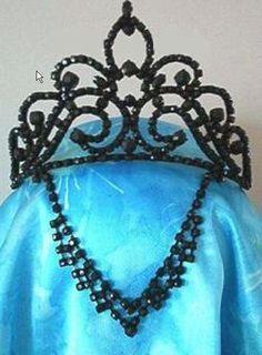 Black Beaded Tiara Fleur de lis