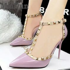 Aliexpress.com : Buy 2017 Women  Pumps Summer style fashion female sandals rivet Metal decoration pu leather South Korean style women high heels JY06 from Reliable women high heels suppliers on HoverKicks Store