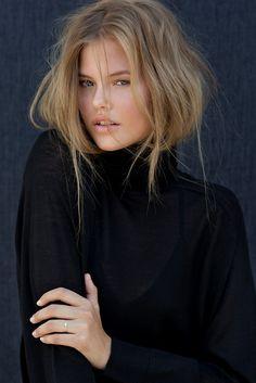 Heidi Astrup. Messy hair and black turtleneck