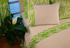 Lime green Zebra Sheet Sets. Carolina blue would be the perfect color though!