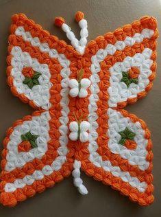 This Pin was discovered by Yel Crochet Butterfly, Crochet Flowers, Baby Girl Dresses, Baby Dress, Fiber Art, Pot Holders, Crochet Projects, Flower Arrangements, Crochet Top